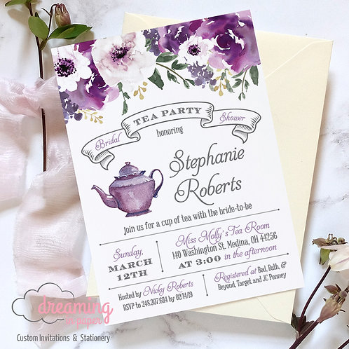 Purple Blooms Bridal Tea Party Invitations