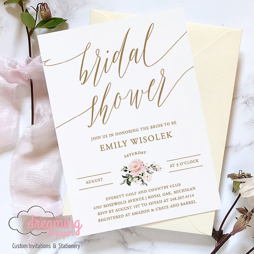 Simple Blush Floral and Gold Fitri Bridal Shower Invitation
