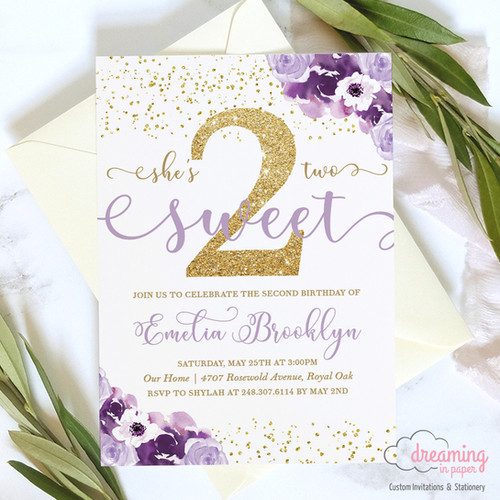 TWO Sweet Gold Purple Floral Birthday Invitation