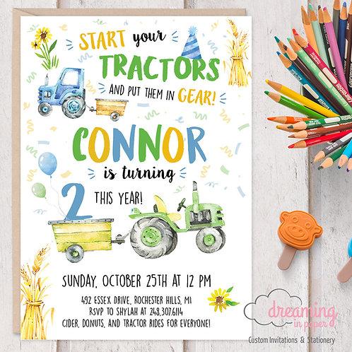 Tractor Birthday Invite, Tractor Invitations, Tractor Birthday Party, Tractor Theme, Farm Birthday, Construction Invite