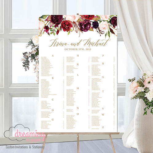Marsala Floral Drop Seating Chart