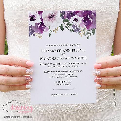 Purple Plum Garden Floral Traditional Wedding Invitation 119