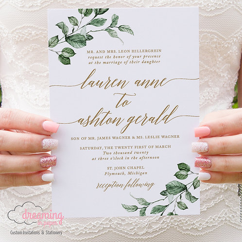 Lush Greenery and Gold Script Wedding Invitations 324