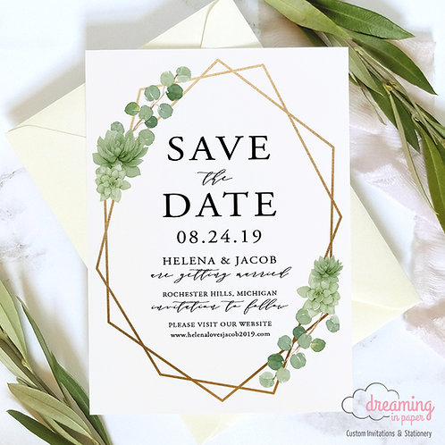 Greenery Eucalyptus Succulents and Gold Geometric Save the Dates