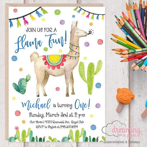 Llama A Llama Fun Birthday Invitations