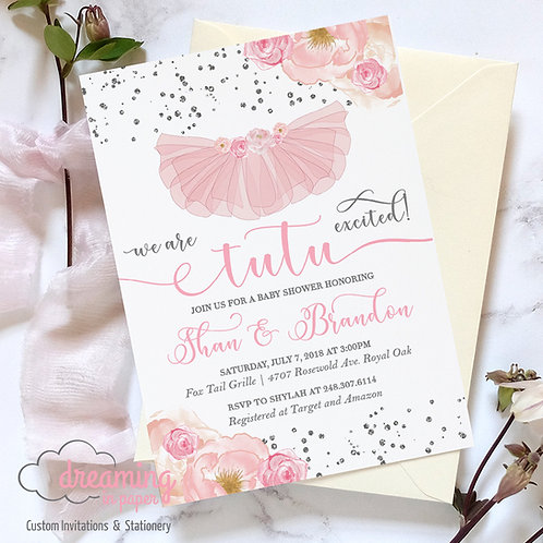 Tutu Excited Silver Confetti Pink Floral Baby Shower Invitation