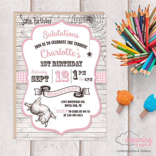 Charlotte's Web Birthday Invitation
