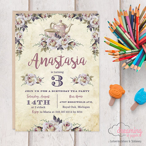 Antique Tea Party Birthday Invitation
