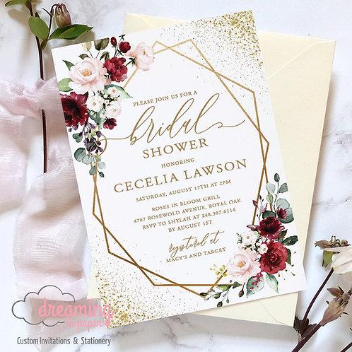Burgundy Blush Gold Geometric Bridal Shower Invitation 241