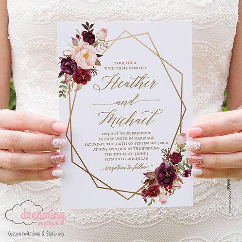 Boho Marsala Burgundy Pink Floral Geometric Wedding Invitation