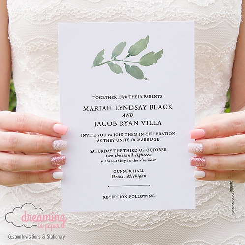 Classic Minimalist Greenery Wedding Invitations 214