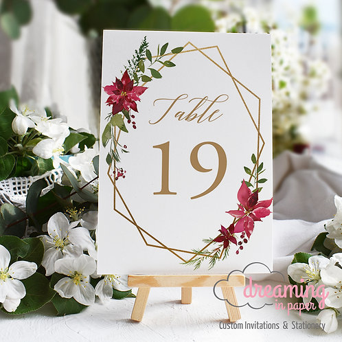 Christmas Poinsettia Holiday Geometric Table Numbers