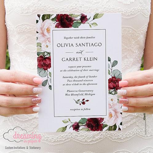 Classic Burgundy Blush Eucalyptus Wedding Invitations 243