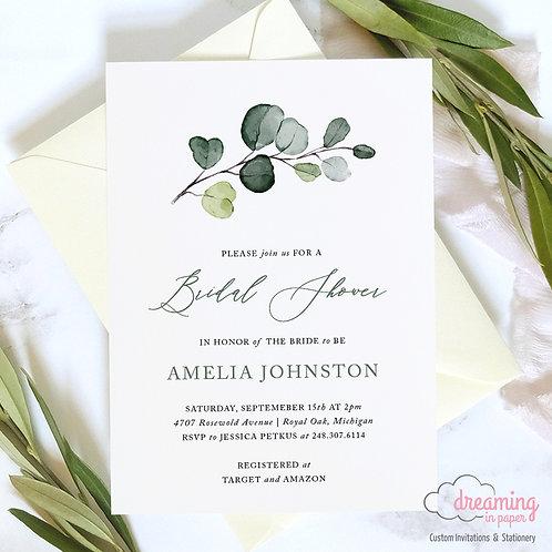 Classic Greenery Eucalyptus Bridal Shower Invitations