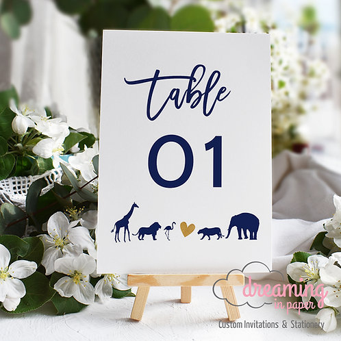 Zoo Animal Heart Table Numbers