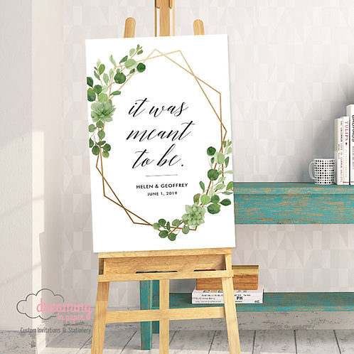 Wild Greenery Eucalyptus Geometric It Was Meant To Be Wedding Welcome Sign