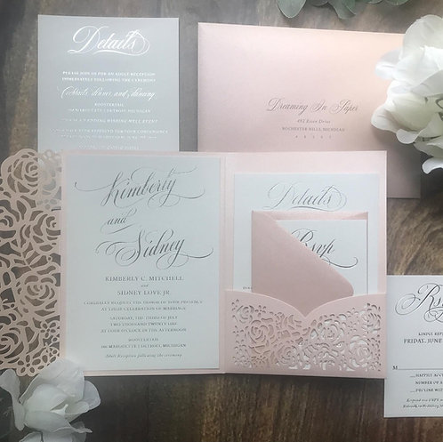 Blush Pink Laser Cut Invites, Real Foil Invites, Silver and Pink Invites