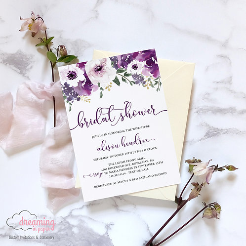 Purple / Violet / Plum Garden Floral Bridal Shower Invitation