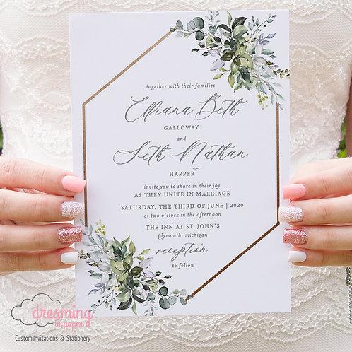 Greenery Wedding Invitations, Wedding Invitations, Botanical Wedding, Hexagon Wedding, Invitations, Invite