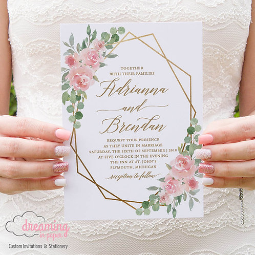 Blush Pink and Eucalyptus Gold Geometric Wedding Invitations 212