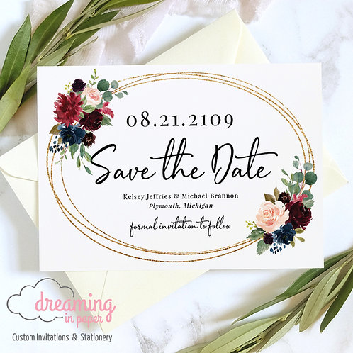 Burgundy Navy Floral Gold Oval Sparkle Save the Dates