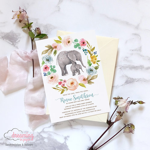 Mama and Baby Elephant Floral Baby Shower Invitation