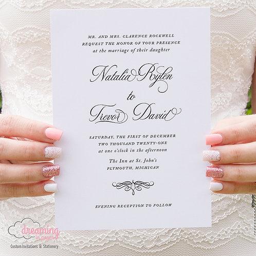 Miltonart Script Traditional Classic Wedding Invitations 435