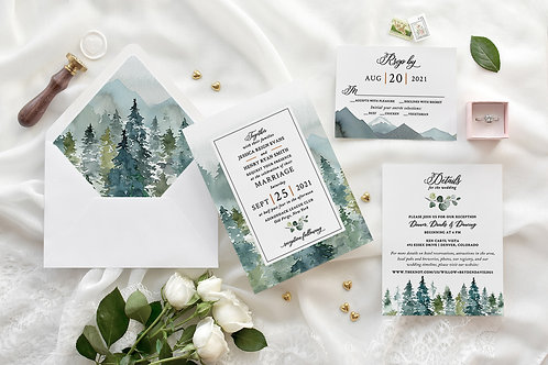 Rustic Mountain Forest Watercolor Traditional Wedding Invitations 437