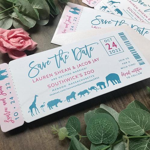 Zoo Ticket Save the Dates Die Cut 291