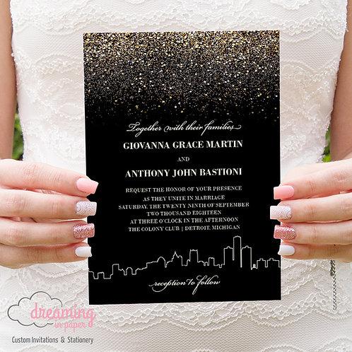 Gold Glitter Detroit Skyline Wedding Invitation Set