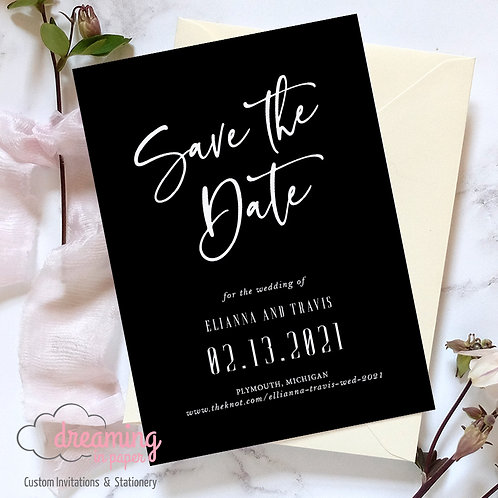 Modern Sinthya Save the Dates Black