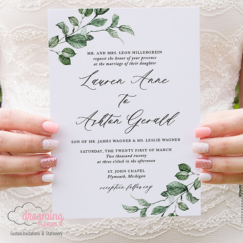 Greenery Modern Calligraphy Invitations 320