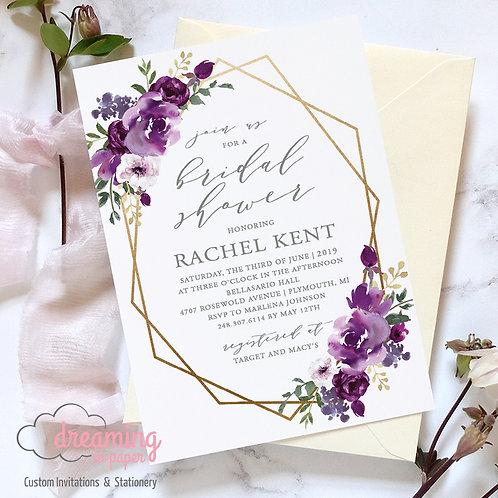Purple Floral Geometric Bridal Shower Invitation
