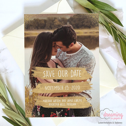 Gold Brush Strokes and Confetti Photo Save the Date