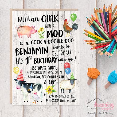 Oink Moo Farm Birthday Birthday Invitation