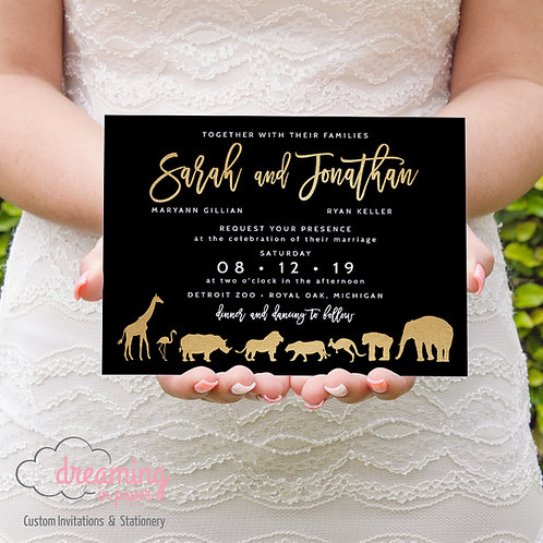 Faux Gold Modern Zoo Horizontal Wedding Invitations 334