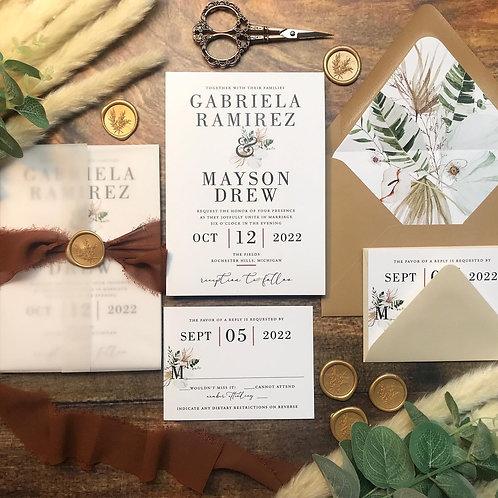 Boho Tropical Pampas Elegant Wedding Invitations 408