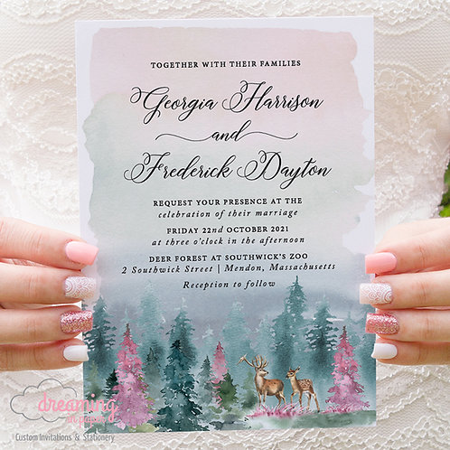 Deer Forest Invite, Southwick's Zoo, Deer Forest Wedding, Deer Invite, Forest Wedding
