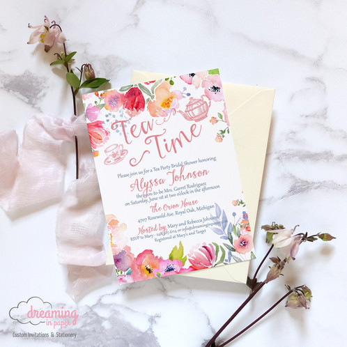 Tea time tea party floral bridal shower invitation bridal shower invitation tea time tea party floral pink white filmwisefo