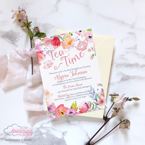 df90042e5ec6 Tea Time Tea Party Floral Bridal Shower Invitation
