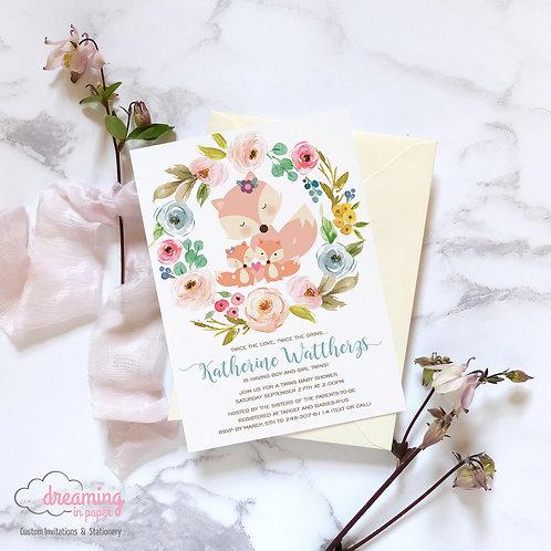 Mama Fox and Twins Baby Shower Invitation