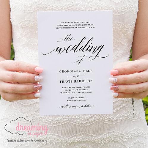 Classic Adelecia Modern Script Wedding Invitation Set
