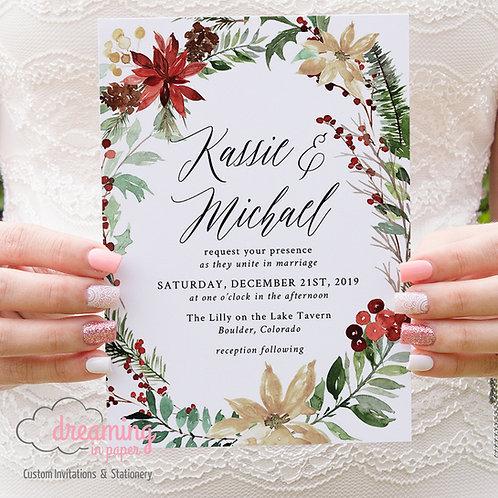 Christmas Wreath Festive Holiday Wedding Invitations 303