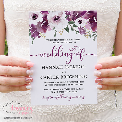 Plum Burgundy Floral Garden Wedding Invitations
