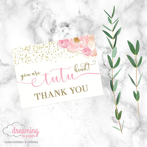 Tutu Excited Pink Gold Floral Thank You Card