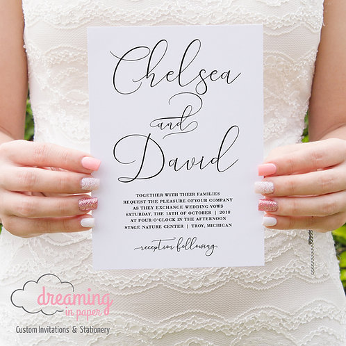 Modern yet Classic England Script Wedding Invitation Set