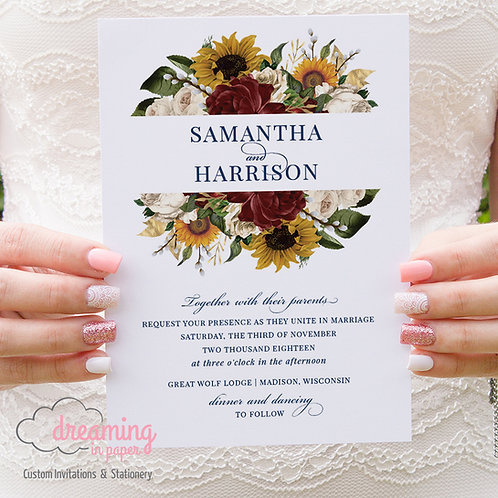 Sunflowers and Burgundy Wedding Invitations 286
