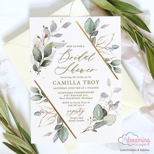 Golden Greenery Diamond Herbal Lisima Bridal Shower Invitations 335