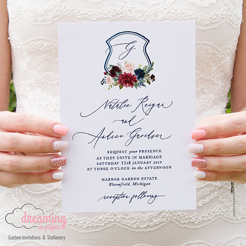 Burgundy Blush and Navy Floral Crest Wedding Invitations - Watercolor Crest