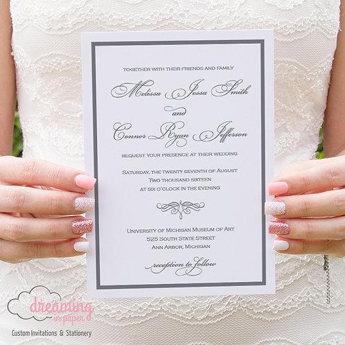 Classic Border Wedding Invitation - Bickham